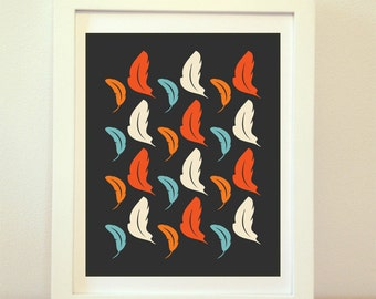 Feathers, Butterflies, Leafs, Fall, Fall Print, Fall Art, Abstract, Art, Home Decor, Orange, Wall Art, Fall Decor, falling leaves