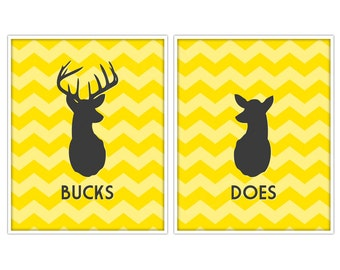 Does & Bucks Antler Prints - Deer Prints - Deer Art - Custom Color - 11x14