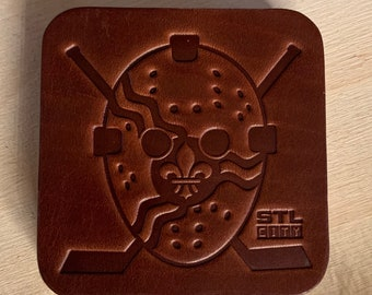 St Louis Goalie Mask Flag Leather Coasters - Set of 4 - STL City, St Louis, Saint Louis, Arch