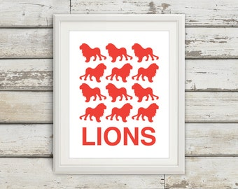Lions, Lion, Lion Print, Lion Art, Kids Wall Art, Jungle Print, Safari Poster, Kids Bedroom, Kids, Bedroom Art, Safari Nursery, Jungle