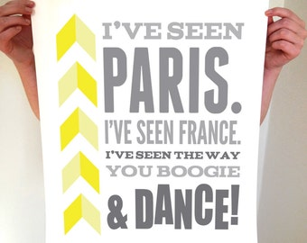 Boogie & Dance Typography Poster - Yellow and Grey Digital Art Print - Home Decor Wall Art