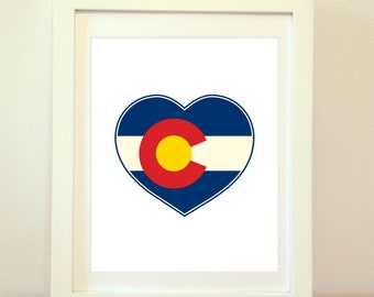 Colorado Heart, Colorado Heart Flag, Colorado Print, Colorado Home, Colorado Wall Art, Colorado Poster, Colorado State Art, Colorado Decor