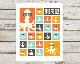 Squid, Lawyer Gift, Lawyer Art, Squid Art, Squid Pro Quo, Squid Print, Squid Poster, Pun, gifts for attorneys, Attorney Gift, Law Office Art