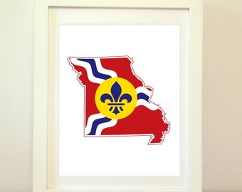 Saint Louis Missouri, St. Louis Art, St. Louis Map, St Louis Flag, Saint Louis Art, Missouri, Saint Louis Print, St. Louis Print, STL