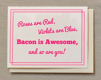Bacon is Awesome - Pink - Individual Thank You Card