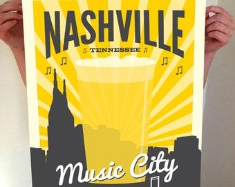 Nashville, Music City, Nashville Tennessee, Nashville Beer, Beer, Beer Print, Nashville Print, Nashvegas,d Nashville Poster, Nashville Art