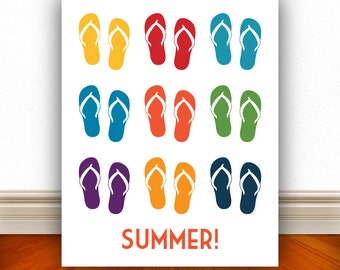 Flip Flops Summer Prints, Flip Flops, Sandals, Sandals Print, Summer Print, Pool, Pool Sign, Home Decor, Summer Art, Beach  - 8x10