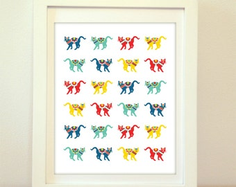 Swedish Cats, Cat Print, Dalecarlian Horse, Swedish Dala Cat, Meow, Kitten, Cat, Cats, Swedish Dala Horses, Swedish Dala Cats, Dala Horse