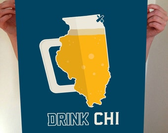 Chicago, Chicago Beer Print, CHI, Chicago Beer, Chicago Poster, Chicago Print, Chicago Art, CHI Art, Chicago Wall Art, Chicago Skyline