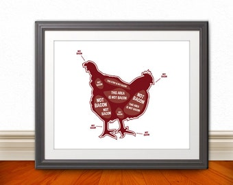 Chicken Butcher Diagram, Butcher Chart - Kitchen Sign, Kitchen Print, Kitchen Art, Bacon Print, Bacon Sign - 8x10