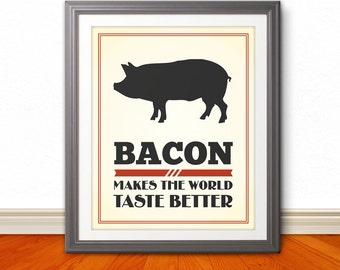 Bacon Makes The World Taste Better, Bacon Print, Bacon Poster - 11x14