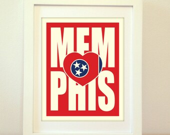 Memphis, Tennessee, Memphis Heart, Memphis Typography, Memphis Print, Memphis Art, Memphis Sign, Memphis Poster, Typography