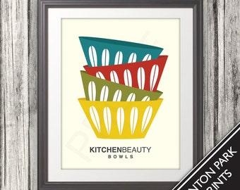 Bowls, Bowl Print, Bowl Poster, Mid Century Art, Retro, Mid Century Bowls, Kitchen Beauty Bowls - 11x14