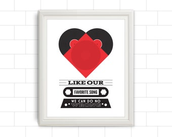 Music, Music Art, Music Poster, Music Decor, Music Gift, Music Wall Art, Music Quote, Vinyl Record, Vinyl Record Heart, Heart, Cassette