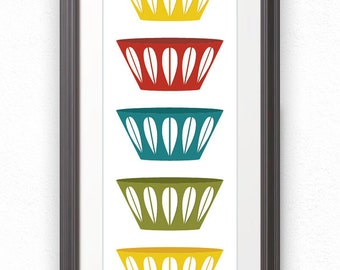 Bowls, Scandinavian Bowls, Mid Century, Stacked Bowls, Cathrineholm, Cathrineholm Print, Kitchen Print, Kitchen Poster, Kitchen Art - 10x28