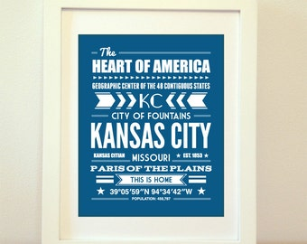 Kansas City, Missouri, Typography, Kansas City Print, Kansas City Art, Kansas City Sign, Kansas City Poster, Kansas City Missouri, KC
