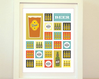 Mid Century Modern Salute To Beer, Mid Century, Beer, Beer Print, Beer Sign, Home Decor, Kitchen Art, Kitchen Print, Mid Century Print