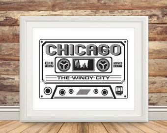 Chicago Cassette Print - Chicago Music Art, Chicago Music Print, Windy City,  Chicago Wall Art, Chicago Poster, 2nd City