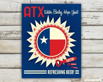 Austin, Texas Flag Beer Cap Print