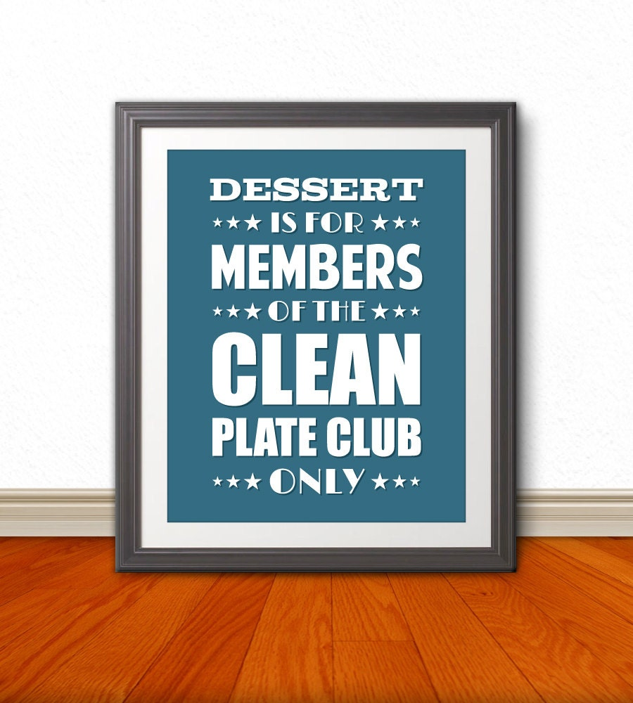 Clean Plate Club, Typography, Wall Art, Kitchen Typography, Home ...