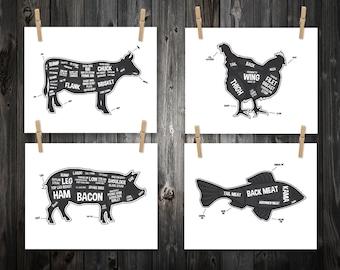 4 Butcher Diagram Prints, Cow, Pig, Fish, Chicken, Kitchen Print, Butcher Chart, Kitchen Art, Butcher Diagram, Butcher Prints, Cuts of Meat