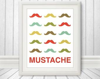 Mustache Print Poster, Mid Century Art, Quote Print, Mustache Art, Retro - Mustache Party