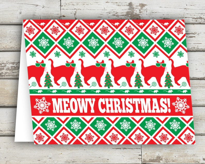 Meowy Christmas Christmas Card Cat Cats Cat Cards image 0