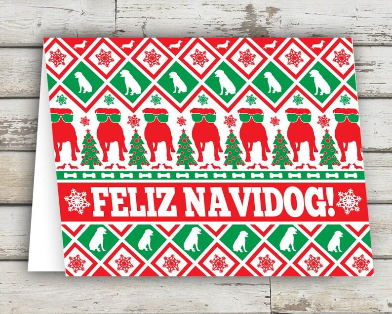 Feliz Navidog Christmas Card Dog Greeting Card Dog Dogs image 0