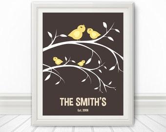 Birds On A Branch, Custom Wedding Gift, Anniversary Gift, Family Tree, Bird Print, Branch Print, Love Birds, Custom Print