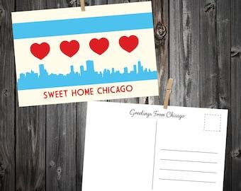 Chicago Heart Flag Postcard Packs