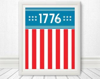 1776, Centennial, Flag, USA, American Flag, Home Decor, USA Flag, 4th of July, Art, Print, Design, 13 Colonies, America