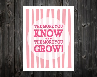 The More You Know, The More You Grow, Inspiration, Typography, Quote, Inspirational Wall Art, Home Decor, Wall Art, Print, Poster, Decor