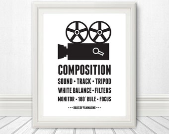 The Rules of Filmmaking Print, Camera Print, Camera Art, Typography, Camera Poster, Movie Art, Movies, Movie Print,, Typography Print, Art