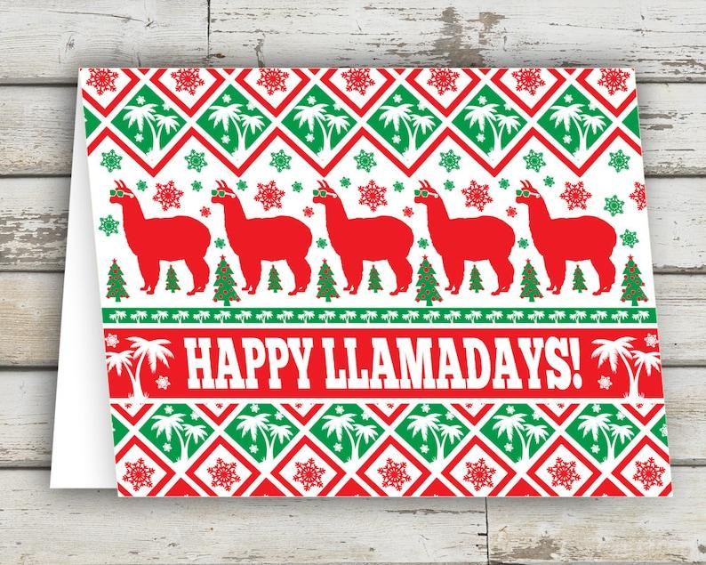 Happy Llamadays Christmas Card funny christmas card unique image 0
