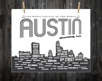 Austin, Austin Neighborhoods, Austin Skyline, Austin Texas, Austin Art, Austin Print, Austin Poster, Austin TX, Austin Typography, Texas