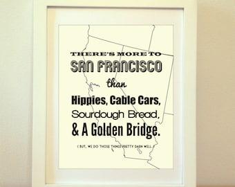 San Francisco, San Francisco Print, San Francisco Art, San Francisco Typography, San Francisco Sign, San Fran, Golden Gate Bridge