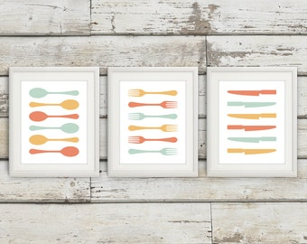 Fork and Spoon Wall Decor, Fork and Spoon Wall Art, Fork Spoon Knife, Fork Spoon, Fork Print, Utensils, Kitchen Art, Kitchen Decor