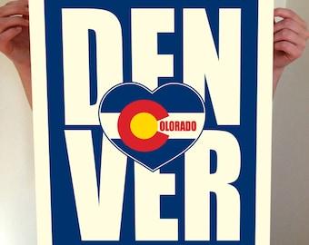Denver, Colorado, Denver Heart, Denver Typography, Denver Print, Denver Art, Denver Sign, Denver Poster, Denver Colorado, Typography