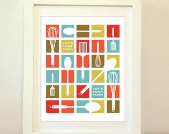 Let's Cook Food, Squares, Mid Century Modern Art, Home Decor, Kitchen Decoration, Kitchen Print, Kitchen Art, Modern Kitchen Art, Typography
