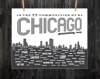 Affiche de quartier de Chicago, Chicago, affiche de Chicago, Chicago Art, CHI, quartiers de Chicago, signe de Chicago, Chicago typographie