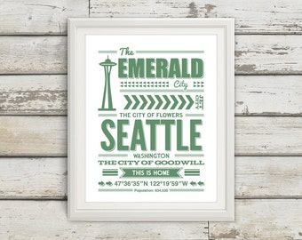 Seattle, Seattle Typography, Seattle Print, Seattle Art, Seattle Sign, Seattle Poster, Seattle Washington, Typography, Seattle Decor