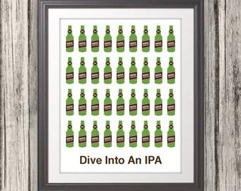 Dive Into An IPA, Beer, Beer Print, Craft Beer, Bar Art, Local Brew - 11x14