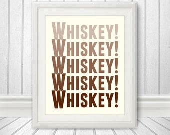 Whiskey - Faded Whiskey Print, Faded Whiskey Art, Bar Print, Bar Art, Custom Color