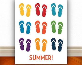Flip Flops Summer Prints, Flip Flops, Sandals, Sandals Print, Summer Print, Pool, Pool Sign, Home Decor, Summer Art, Beach  - 8x10