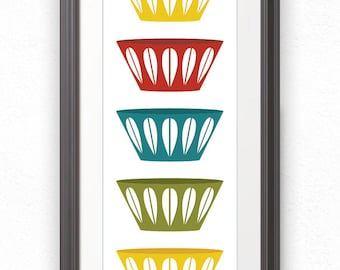 Bowls, Scandinavian Bowls, Mid Century, Stacked Bowls, Cathrineholm, Cathrineholm Print, Kitchen Print, Kitchen Poster, Kitchen Art - 10x28
