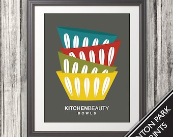 Bowls, Bowls Print, Bowls Poster, Mid Century Art, Retro, Mid Century Bowls, Kitchen Beauty Bowls, Retro Print
