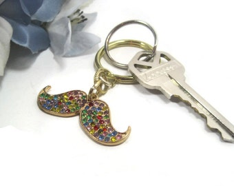 Jewel Mustache Keyring, Key Ring, Keychain, Key Chain, Repurposed Jewelry
