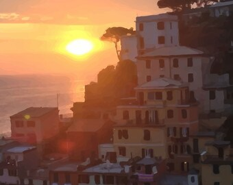 Cinque Terre, Italy - Sunset Print - Italian Artwork - Coast of Italy
