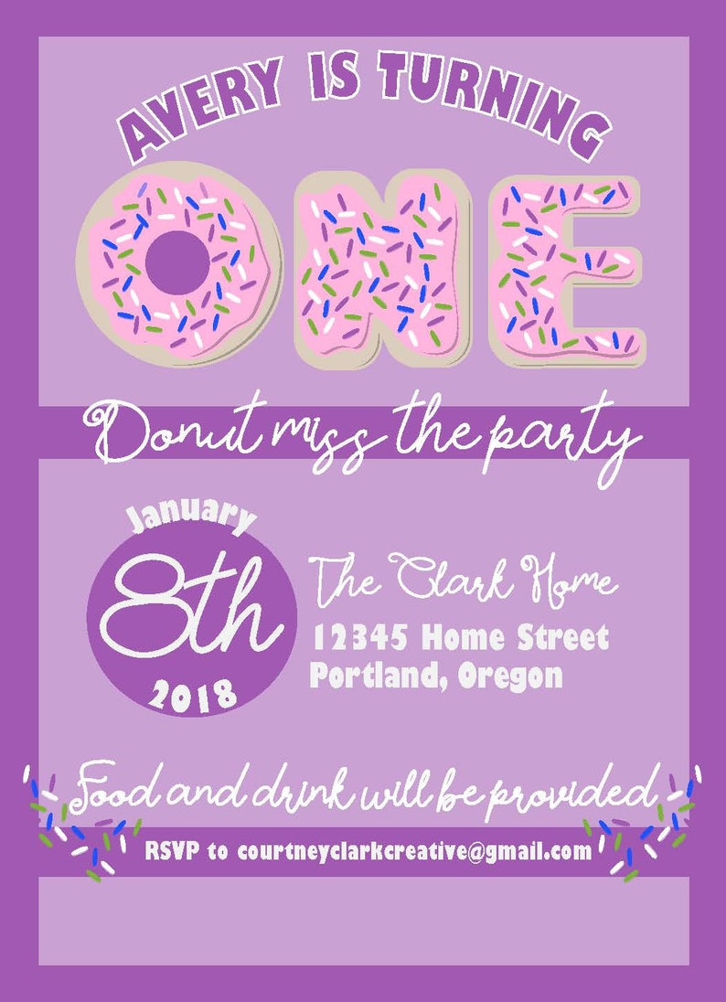 Donut Birthday 1 year old Invitation