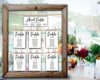 Blush Wedding Seating chart cards DIY Tableau de Mariage PDF Blush Hanging Seating Chart Watercolor wedding table Plan template